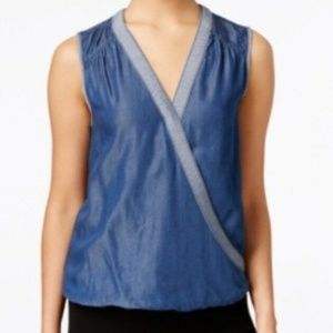 INC Intrenational Concptes Chambray Top Women's
